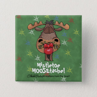 Mistletoe MOOSEtache Pinback Button