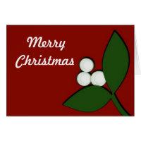 Mistletoe on Maroon Christmas Card