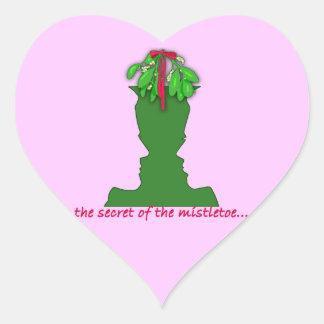 Mistletoe Optical Illusion Heart Sticker