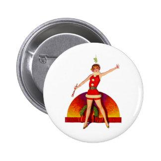 Mistletoe Pinup Girl 2 Inch Round Button