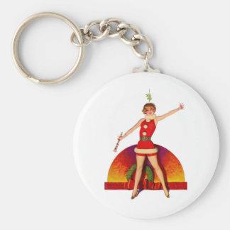 Mistletoe Pinup Girl Basic Round Button Keychain
