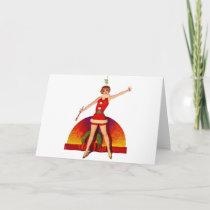 Mistletoe Pinup Girl Holiday Card