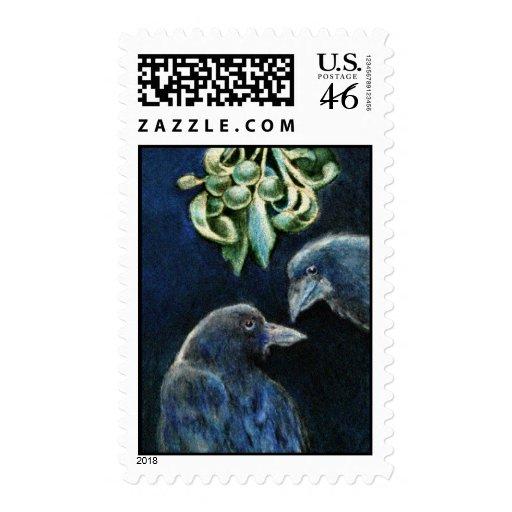 Mistletoe Ravens Postage Stamp
