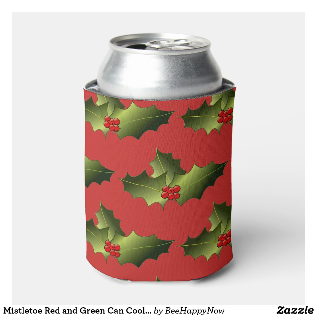 Mistletoe Red and Green Can Cooler