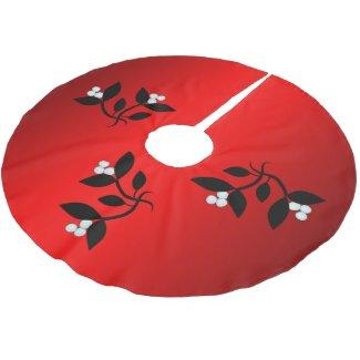 Mistletoe Red Christmas Brushed Polyester Tree Skirt