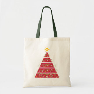 Mistletoe red christmas tree seasonal shopping bag