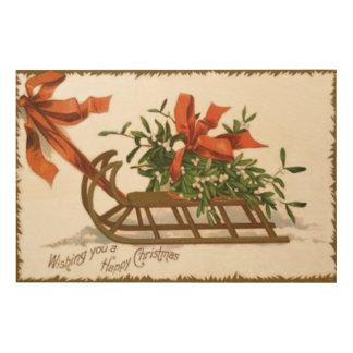 Mistletoe Sleigh Sled Red Bow Wood Wall Decor