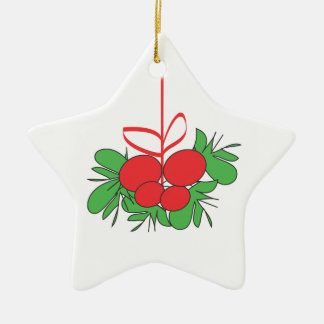 Mistletoe star white ceramic ornament