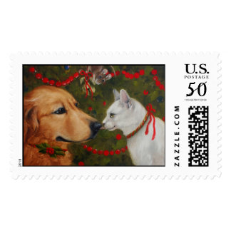 Mistletoe- the cat dog and mouse! postage