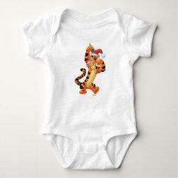 Baby Jersey Bodysuit with Santa Tigger with Mistletoe design