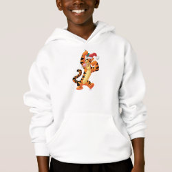 Girls' American Apparel Fine Jersey T-Shirt with Santa Tigger with Mistletoe design