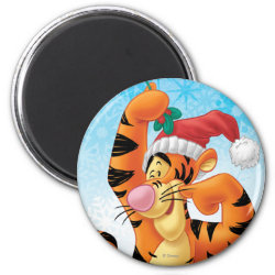 Round Magnet with Santa Tigger with Mistletoe design