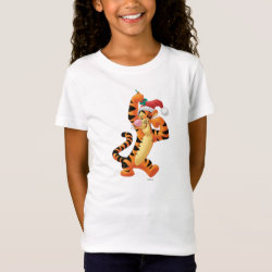 Girls' Fine Jersey T-Shirt with Santa Tigger with Mistletoe design