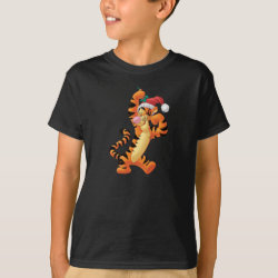 Kids' Hanes TAGLESS® T-Shirt with Santa Tigger with Mistletoe design