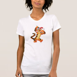 Women's American Apparel Fine Jersey Short Sleeve T-Shirt with Santa Tigger with Mistletoe design