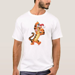 Men's Basic T-Shirt with Santa Tigger with Mistletoe design