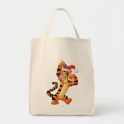 Grocery Tote with Santa Tigger with Mistletoe design