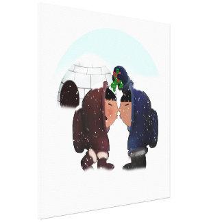 Mistletoe Time - Mistletoe Kiss Stretched Canvas Print