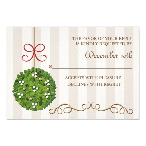 MISTLETOE WEDDING RESPONSE RSVP CARD
