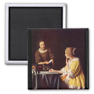 Mistress and maid by Johannes Vermeer 2 Inch Square Magnet