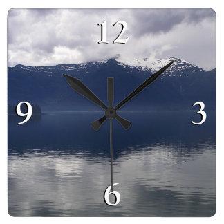 Misty Alaskan Sea in Beautiful Shades of Blue Square Wall Clock