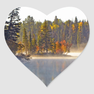 Misty autumn lake heart sticker