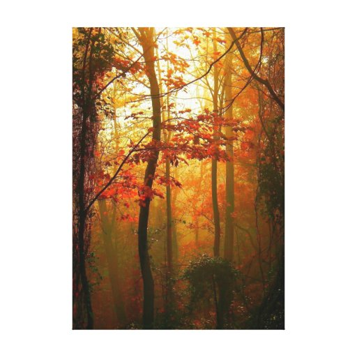 Misty Autumn Morning Canvas Stretched Canvas Prints