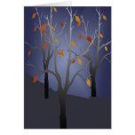 misty autumn night card