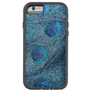 misty blue glitter peacock feathers iPhone 6 case