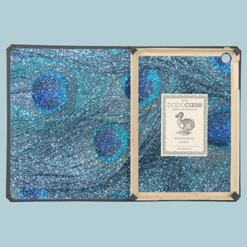 misty blue glitter peacock feathers case for iPad air