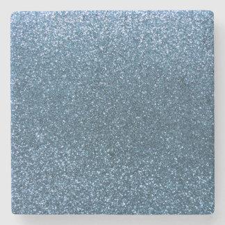 Misty blue glitter stone coaster