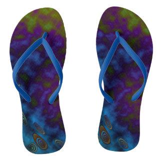Misty Blue Green Flip Flops