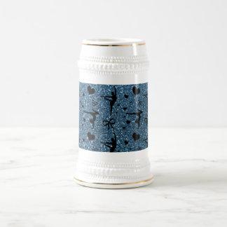 Misty blue gymnastics glitter pattern coffee mugs