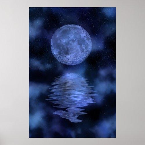 Misty blue moon print