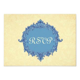 Misty Blue Pale Gold  RSVP Wedding Response Card 3
