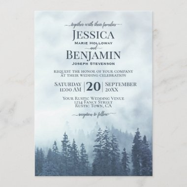 Misty Blue Pine Forest Rustic Outdoors Wedding Invitation