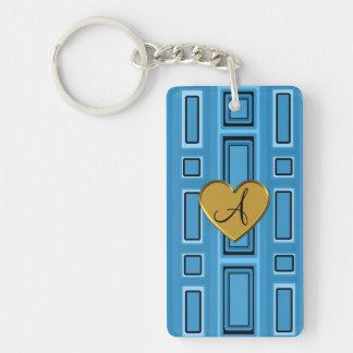 Misty blue retro squares monogram Single-Sided rectangular acrylic keychain