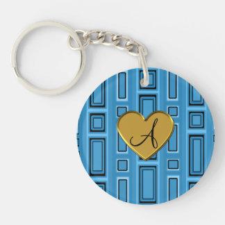 Misty blue retro squares monogram Double-Sided round acrylic keychain