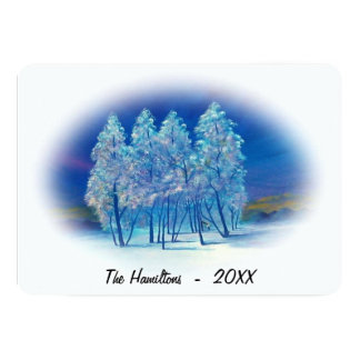 Misty Blue Spruce Trees Northern Lights Painting Card
