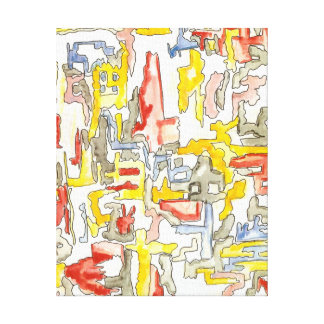 Misty City - Abstract Art Hand Painted Canvas Print