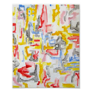 Misty City - Abstract Art Hand Painted Poster