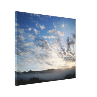 Misty Clouds Sky Oregon Forest Scenic Photography Canvas Print