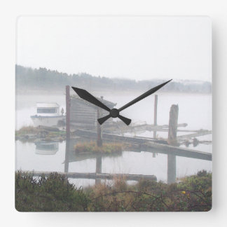 Misty Clouds Sky Oregon Forest Scenic Photography Square Wall Clock