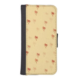 Misty Cream Palm Trees Wallet Phone Case For iPhone SE/5/5s