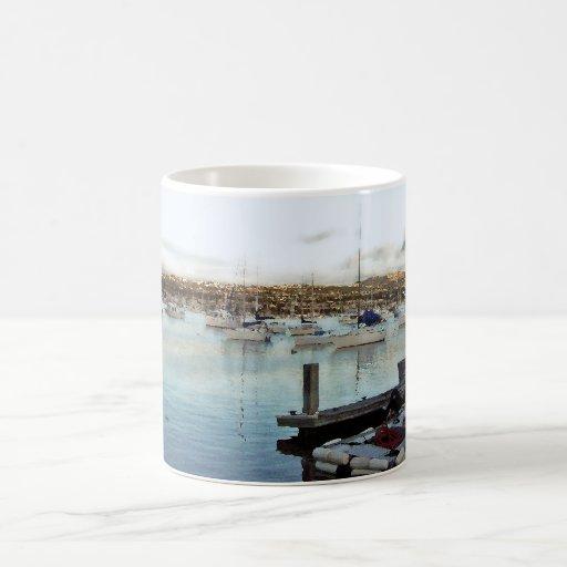 Misty Dawn Harbor Sailboats Mug