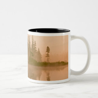 Misty dawn on East Inlet, Pittsburg, New Two-Tone Coffee Mug