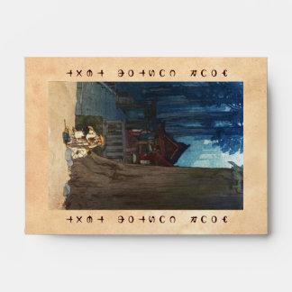 Misty day in Nikko Hiroshi Yoshida woodblock art Envelope