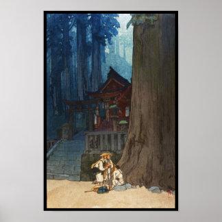 Misty day in Nikko Hiroshi Yoshida woodblock art Poster