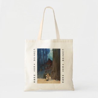 Misty day in Nikko Hiroshi Yoshida woodblock art Tote Bag