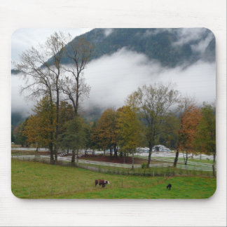 Misty Fall Morning on the Ranch Mousepads